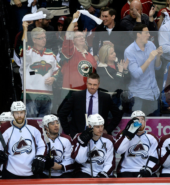 . Colorado coach Patrick Roy reacted in the second period after Minnesota scored what would hold up as the game winning goal.   (Photo by Karl Gehring/The Denver Post)