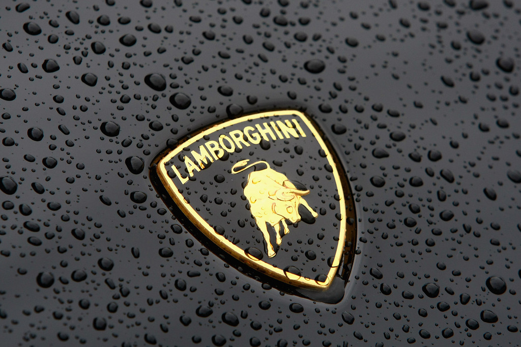 . The Lamborghini sign is seen on a car, presented in front of the headquarters during the Audi annual news conference on March 10, 2009 in Ingolstadt, Germany. (Photo by Alexander Hassenstein/Getty Images)