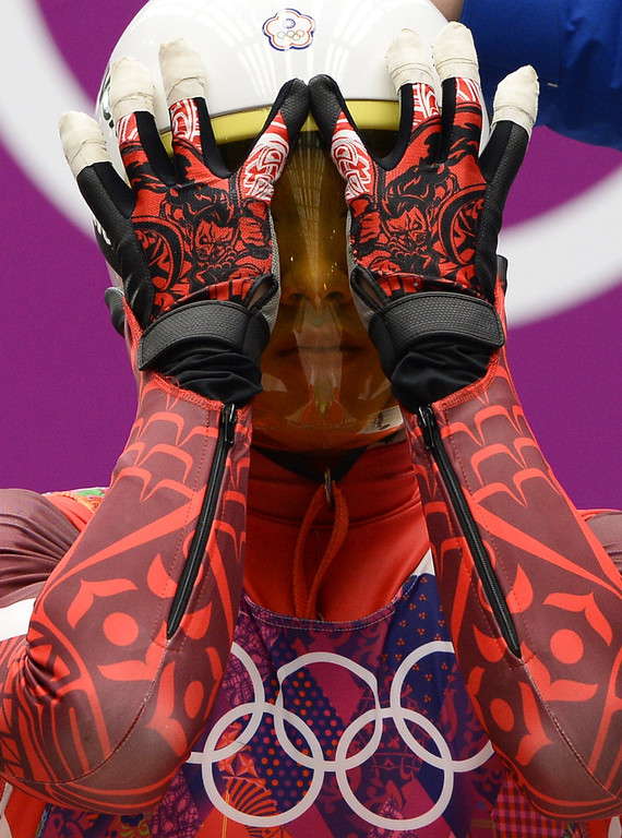 . Taiwan\'s Lien Te-An competes during the Men\'s Luge Singles run two at the Sliding Center Sanki during the Sochi Winter Olympics on February 8, 2014.  (LIONEL BONAVENTURE/AFP/Getty Images)