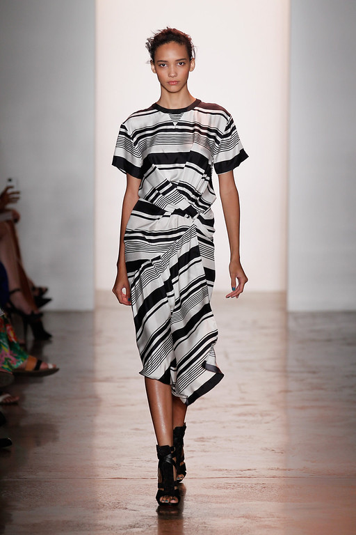 . A model walks the runway at the Peter Som Spring 2014 fashion show during Mercedes-Benz Fashion Week at Milk Studios on September 6, 2013 in New York City.  (Photo by Peter Michael Dills/Getty Images for Mercedes-Benz Fashion Week)
