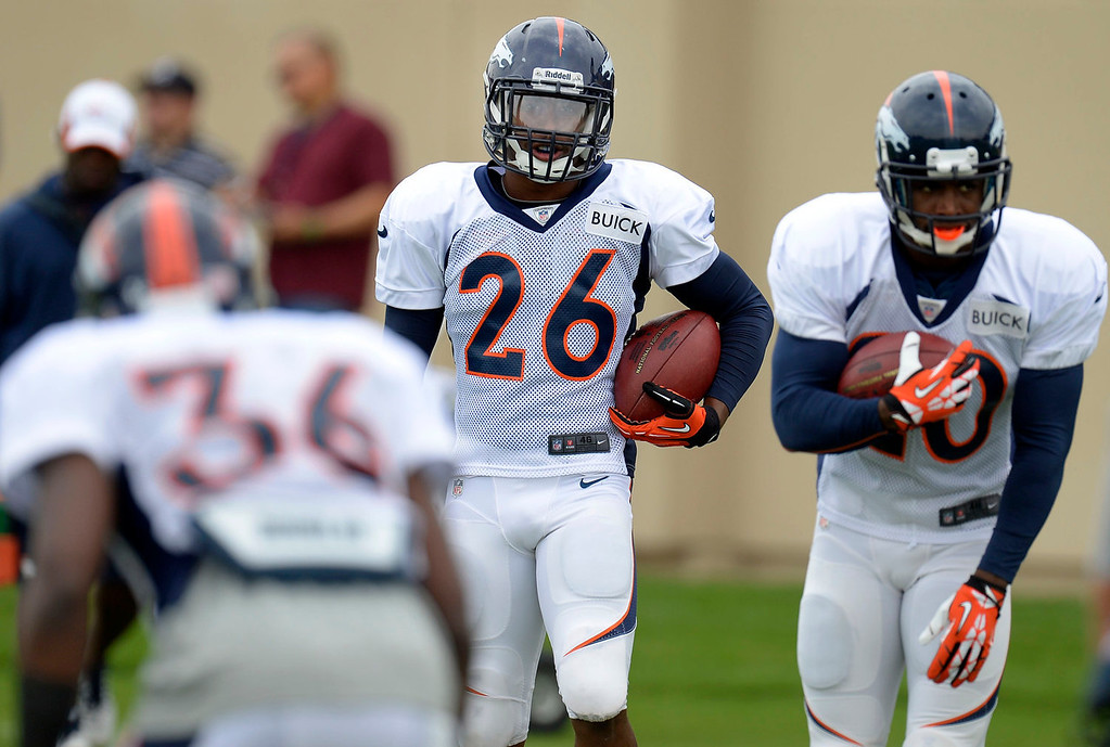 . Denver Broncos free safety Rahim Moore (26) waits his turn in drills during practice September 1, 2013 at Dove Valley. (Photo by John Leyba/The Denver Post)