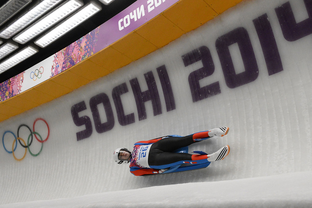 . Czech Republic\'s Vendula Kotenova competes during the Women\'s Luge Singles run two at the Sliding Center Sanki during the Sochi Winter Olympics on February 10, 2014.   AFP PHOTO / LIONEL BONAVENTURE/AFP/Getty Images