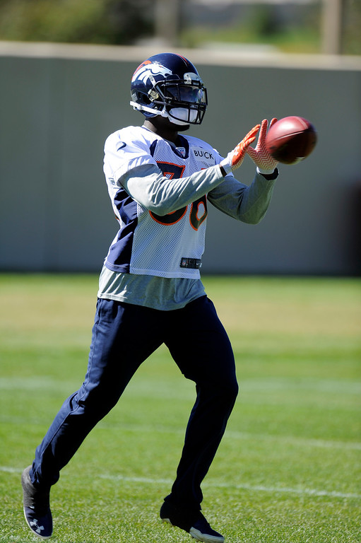 . Cornerback Kayvon Webster (36) of the Denver Broncos caches a pass during practice September 25, 2013 at Dove Valley. (Photo by John Leyba/The Denver Post)