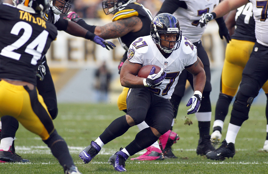. Ray Rice #27 of the Baltimore Ravens rushes against the Pittsburgh Steelers during the game on October 20, 2013 at Heinz Field in Pittsburgh, Pennsylvania.  (Photo by Justin K. Aller/Getty Images)