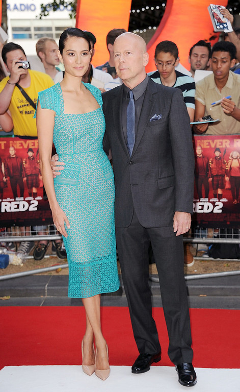 . Emma Heming and Bruce Willis attends the European Premiere of \'Red 2\' at Empire Leicester Square on July 22, 2013 in London, England.  (Photo by Stuart C. Wilson/Getty Images)