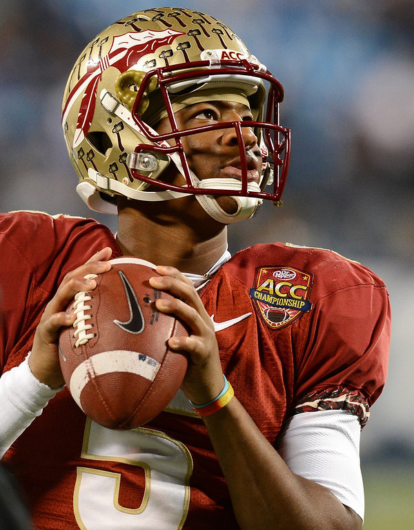 . Florida State quarterback Jameis Winston warms up prior to ACC Championship action against Duke at Bank of America Stadium in Charlotte, N.C., on Saturday, Dec. 7, 2013. (Jeff Siner/Charlotte Observer/MCT)