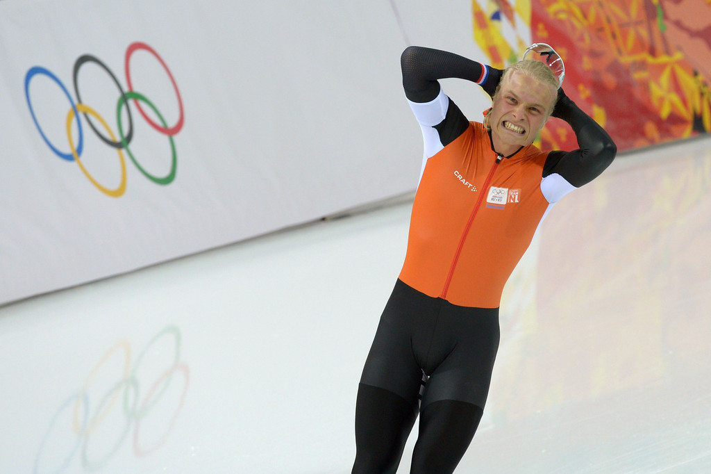 . Netherlands\' Koen Verweij reacts after the Men\'s Speed Skating 1500 m at the Adler Arena during the Sochi Winter Olympics on February 15, 2014.         DAMIEN MEYER/AFP/Getty Images