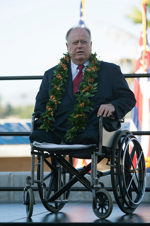 . Former U.S. Senator Max Cleland speaks at the ceremony commemorating the 72nd anniversary of the attack on Pearl Harbor, Saturday, Dec. 7, 2013, in Honolulu.  (AP Photo/Marco Garcia)