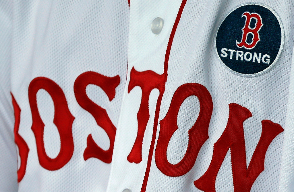 . Boston Red Sox\'s Pedro Ciriaco wears a \'B strong patch during a baseball game between the Boston Red Sox and the Kansas City Royals in Boston, Saturday, April 20, 2013. (AP Photo/Michael Dwyer)
