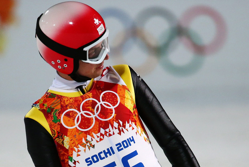 . Simon Ammann of Switzerland reacts after the Men\'s Large Hill Individual Qualification Round in RusSki Gorki Jumping Center at the Sochi 2014 Olympic Games, Krasnaya Polyana, Russia, 14 February 2014.  EPA/Daniel Karmann