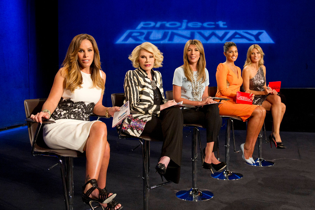 . Project Runway (L to R) Guest judges Melissa and Joan Rivers with Nina Garcia, Rachel Roy and Heidi Klum from Project Runway season 11, premiering Thursday, January 24, at 9pm ET/PT on Lifetime Photo by Barbara Nitke Copyright 2012