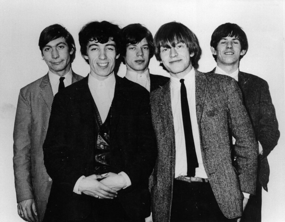 . Young English rhythm and blues group The Rolling Stones, from left to right, drummer Charlie Watts, bass guitarist Bill Wyman, singer Mick Jagger, guitarist Brian Jones (1942 - 1969) and guitarist Keith Richards. April 28, 1964. (Photo by Keystone Features/Getty Images)