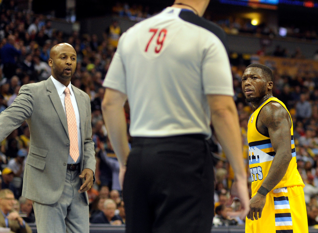 . DENVER, CO. - NOVEMBER 1:  Denver guard Nate Robinson gave a dirty look to an official in the second half. The Denver Nuggets were defeated by the Portland Trail Blazers 113-98 Friday night, November 1, 2013 at the Pepsi Center.  The Nuggets are winless after two games. Photo By Karl Gehring/The Denver Post