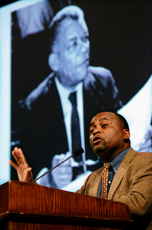 . Seton Hall University School of Law professor Bernard K. Freamon stands near a photograph of civil rights leader Oliver Randolph, as he speaks to a gathering about the Anti-segregation Clause in the New Jersey Constitution during a Black History Month event, Thursday, Feb. 21, 2008, at Princeton University.  (AP Photo/Mel Evans)