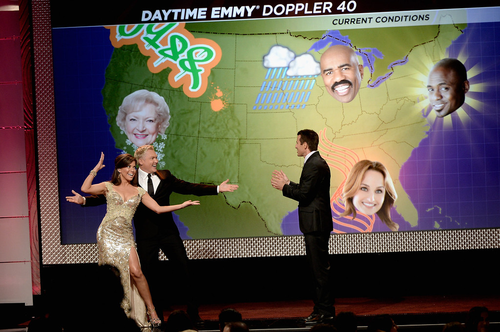. BEVERLY HILLS, CA - JUNE 16: (L-R) Co-hosts Robin Meade, Sam Champion and A.J. Hammer speak onstage during The 40th Annual Daytime Emmy Awards at The Beverly Hilton Hotel on June 16, 2013 in Beverly Hills, California.  (Photo by Kevin Winter/Getty Images)