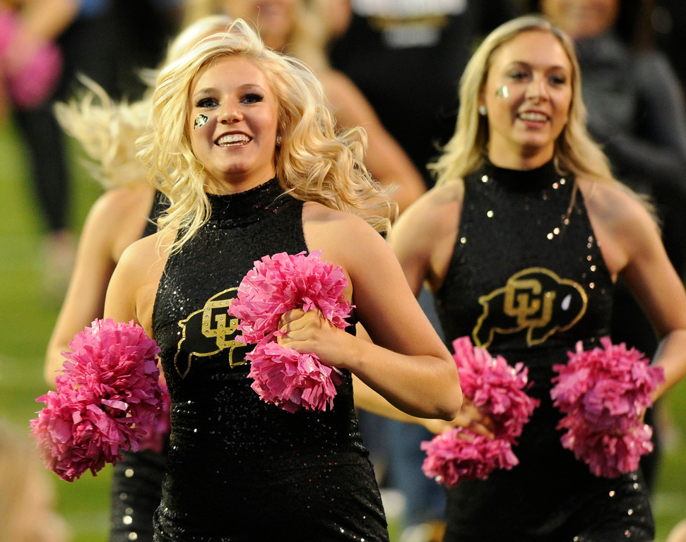 . BOULDER, CO. - OCTOBER 26: Colorado cheerleaders sported pink poms for breast cancer awareness. The Arizona Wildcats defeated the University of Colorado Buffaloes 44-20 Saturday night, October 26, 2013. Photo By Karl Gehring/The Denver Post