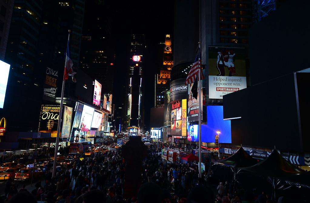 ". Some large electronic billboards stand dark on Times Square as their lights were turned off too mark ""Earth Hour\"" in New York, March 23, 2013. More than 150 countries across the world, switched off their lights for an hour at 20:30 local time to support action to create a sustainable future for the planet. EMMANUEL DUNAND/AFP/Getty Images"