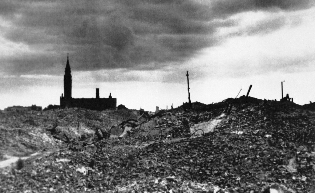 . FILE - This 1943 file photo shows the rubble after the Warsaw ghetto was razed by German forces. (AP Photo, File)