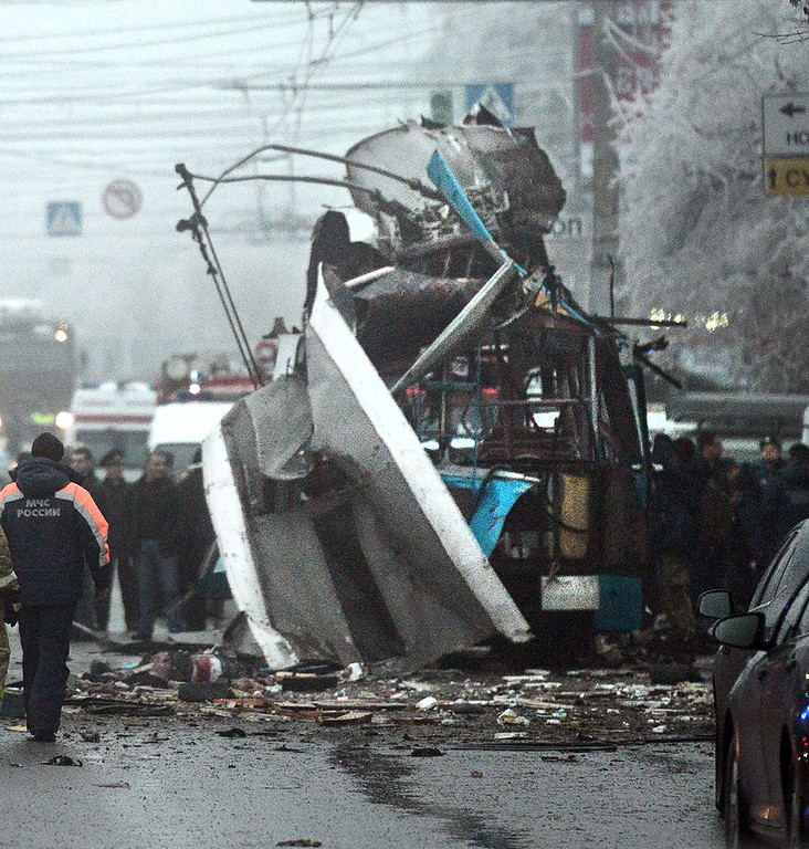 . View of the wreckage of a trolleybus following an attack killing at least 14 people in the southern Russian city of Volgograd on December 30, 2013. The force of the blast left almost no trace of the trolleybus, which was packed with early morning commuters, and also blew out windows of nearby houses, state television said. The new attack will further heighten fears about security at the Winter Olympic Games which are set to open on February 7 in Russia\'s Black Sea resort of Sochi, southwest of Volgograd. AFP/Getty Images