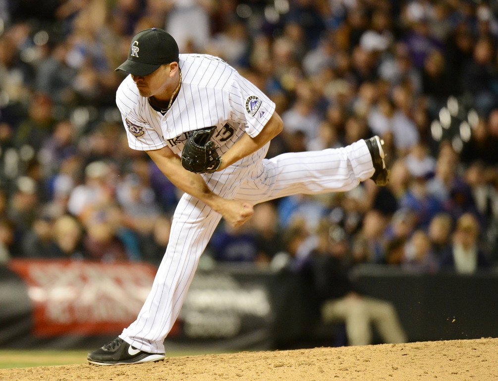 . DENVER, CO. - MAY 31: Rafael Betancourt of Colorado Rockies pitch 10th inning against Los Angeles Dodgers at Coors Field. Denver, Colorado. May 31, 2013. Los Angeles won 7-5 in 10th inning. (Photo By Hyoung Chang/The Denver Post)
