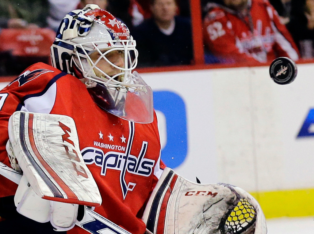 . Washington Capitals goalie Braden Holtby (70) watches the puck in the first period of an NHL hockey game against the New Jersey Devils, Thursday, Feb. 21, 2013, in Washington. (AP Photo/Alex Brandon)