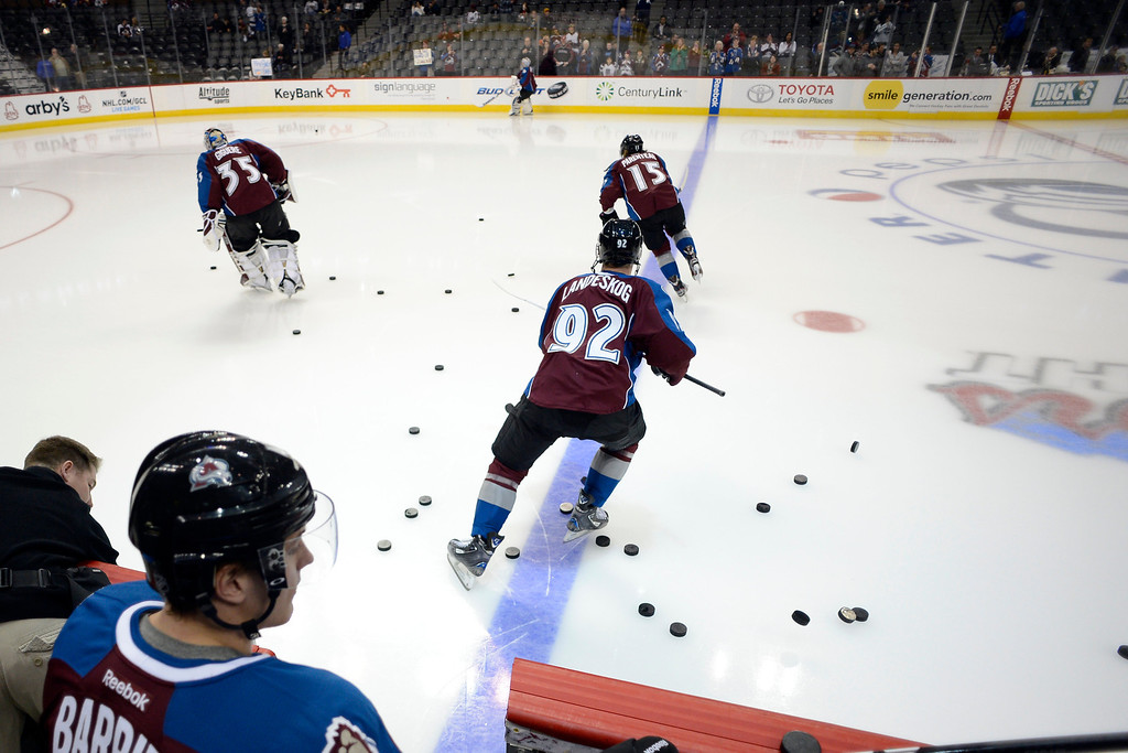 . DENVER, CO. - JANUARY 22: The Colorado Avalanche take the ice for pre-skate before the first period. The Colorado Avalanche hosted the Los Angeles Kings at the Pepsi Center on January, 22, 2013.   (Photo By John Leyba / The Denver Post)