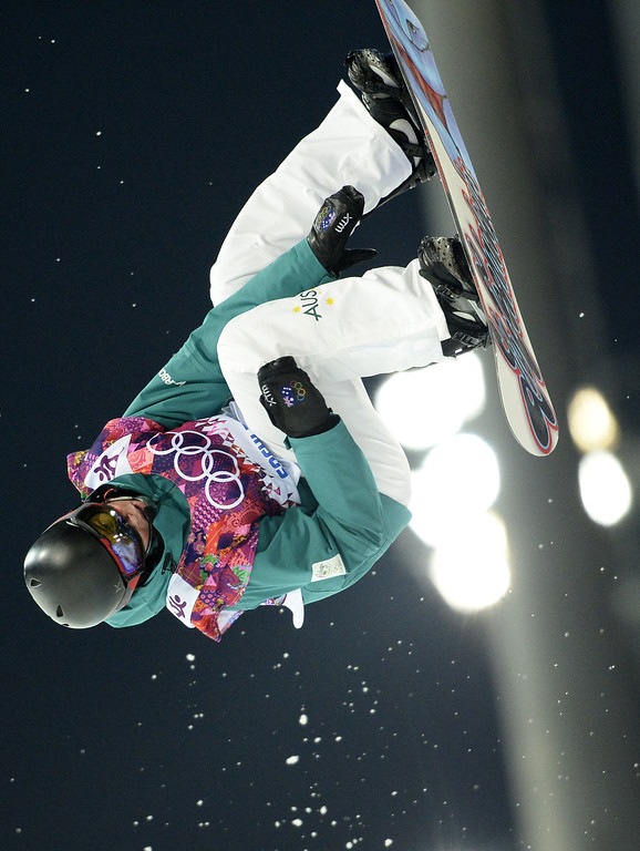 . Australia\'s Kent Callister competes in the Men\'s Snowboard Halfpipe Semifinals at the Rosa Khutor Extreme Park during the Sochi Winter Olympics on February 11, 2014.          AFP PHOTO / FRANCK FIFE/AFP/Getty Images