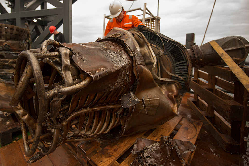 . A heat exchanger from an Apollo F-1 engine is seen in this handout photo from Bezos Expeditions taken onboard a recovery ship off the coast of Florida March 19, 2013.  REUTERS/Bezos Expeditions/Handout