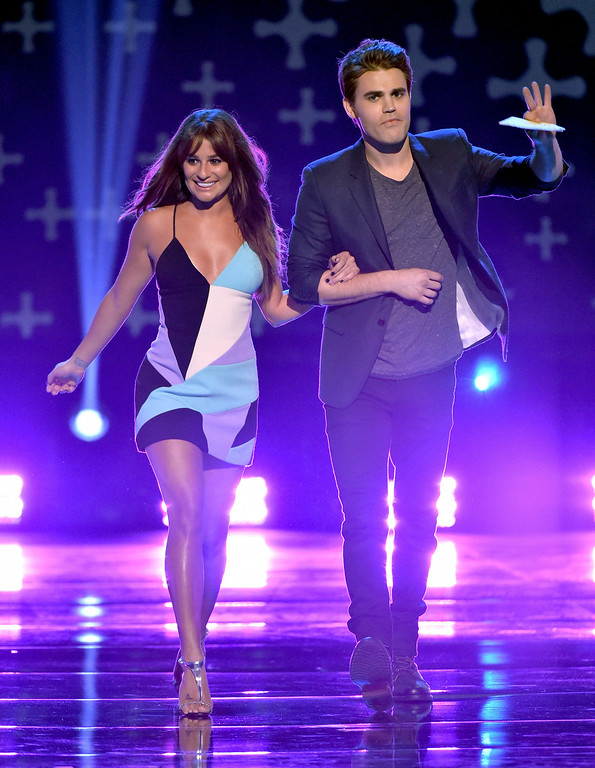 . Actors Lea Michele (L) and Paul Wesley onstage during FOX\'s 2014 Teen Choice Awards at The Shrine Auditorium on August 10, 2014 in Los Angeles, California.  (Photo by Kevin Winter/Getty Images)