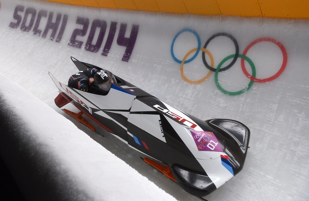 . Steven Holcomb and� Steven Langton of USA  in action during the second run of the Two-Man Bobsleigh competition at the Sanki Sliding Center at the Sochi 2014 Olympic Games, Krasnaya Polyana, Russia, on Feb. 16, 2014. EPA/TOBIAS HASE