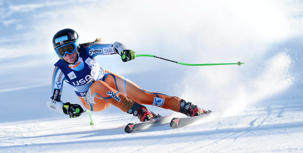 . Skier Smiseth Lotte Sejersted, of Norway, takes a turn during the women\'s Super-G race at the FIS World Cup Alpine Skiing in Beaver Creek, Colorado, USA, 30 November 2013.  EPA/JUSTIN LANE