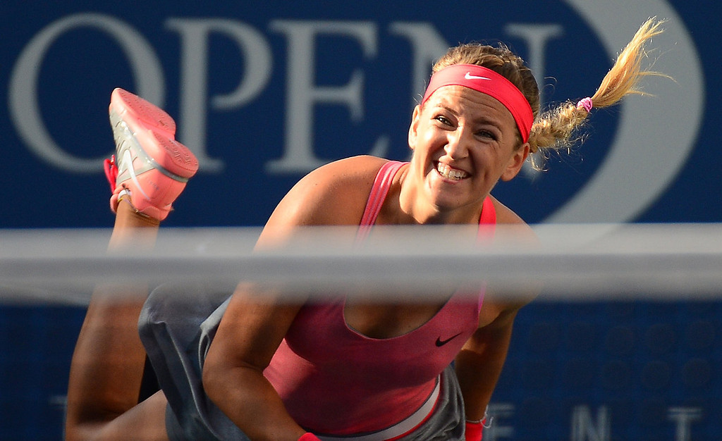 . Belarus\' tennis player Victoria Azarenka serves to US Serena Williams during the 2013 US Open women\'s final at the USTA Billie Jean King National Tennis Center in New York on September 8, 2013.   EMMANUEL DUNAND/AFP/Getty Images