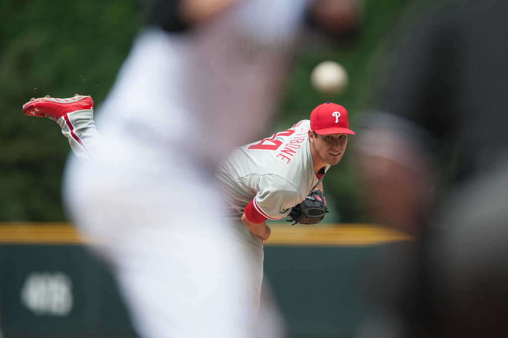 . DENVER, CO - JUNE 15:  Jonathan Pettibone #44 of the Philadelphia Phillies pitches in the first inning of a game against the Colorado Rockies at Coors Field on June 15, 2013 in Denver, Colorado.  (Photo by Dustin Bradford/Getty Images)