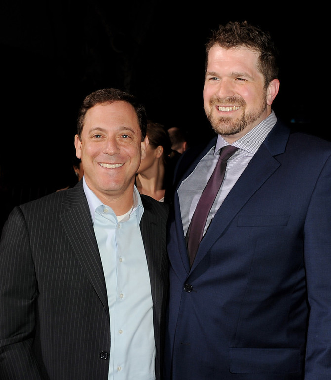""". Adam Fogelson, Chairman, Universal Pictures (L) and director Seth Gordon arrive at the premiere of Universal Pictures\' \""""Identity Theft\"""" at the Village Theatre on February 4, 2013 in Los Angeles, California.  (Photo by Kevin Winter/Getty Images)"""