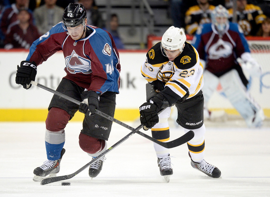 . Colorado center Brad Malone (42) battled for the puck with Boston center Chris Kelly (23) in the first period. The Colorado Avalanche hosted the Boston Bruins at the Pepsi Center Friday night, March 21, 2014. (Photo by Karl Gehring/The Denver Post)