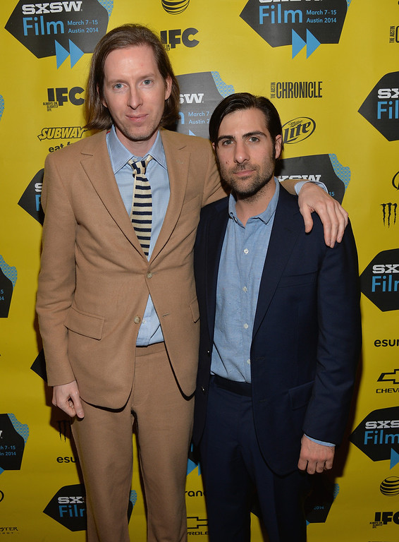". Director Wes Anderson (L) and actor Jason Schwartzman attend the screening of ""Grand Budapest Hotel\"" during the 2014 SXSW Music, Film + Interactive Festival at the Paramount Theatre on March 10, 2014 in Austin, Texas.  (Photo by Michael Buckner/Getty Images for SXSW)"