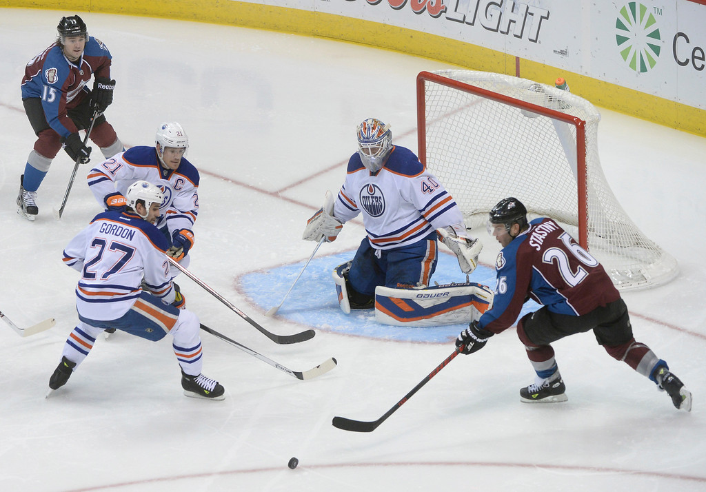 . DENVER, CO. - DECEMBER 19: Colorado center Paul Stastny (29) reached for a rebound in the second period. The Colorado Avalanche hosted the Edmonton Oilers in an NHL game at the Pepsi Center Thursday night, December 19, 2013.  Photo By Karl Gehring/The Denver Post