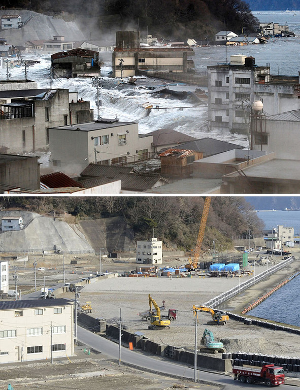 . This combination photo taken March 11, 2011, top, and distributed by Kamaishi City, and Wednesday, Feb. 27, 2013 by Kyodo News, shows a view of the harbor area of Kamaishi, Iwate prefecture. Monday, March 11, 2013 will mark the 2-year anniversary of the earthquake and tsunami which devastated the northeastern Pacific coast of Japan. Japan\'s progress in rebuilding from the mountain of water that thundered over coastal sea walls, sweeping entire communities away and killing nearly 19,000 people, is mainly measured in barren foundations and empty spaces. Clearing of forests on higher ground to make space for relocation of survivors has barely begun. (AP Photo/Kyodo News)