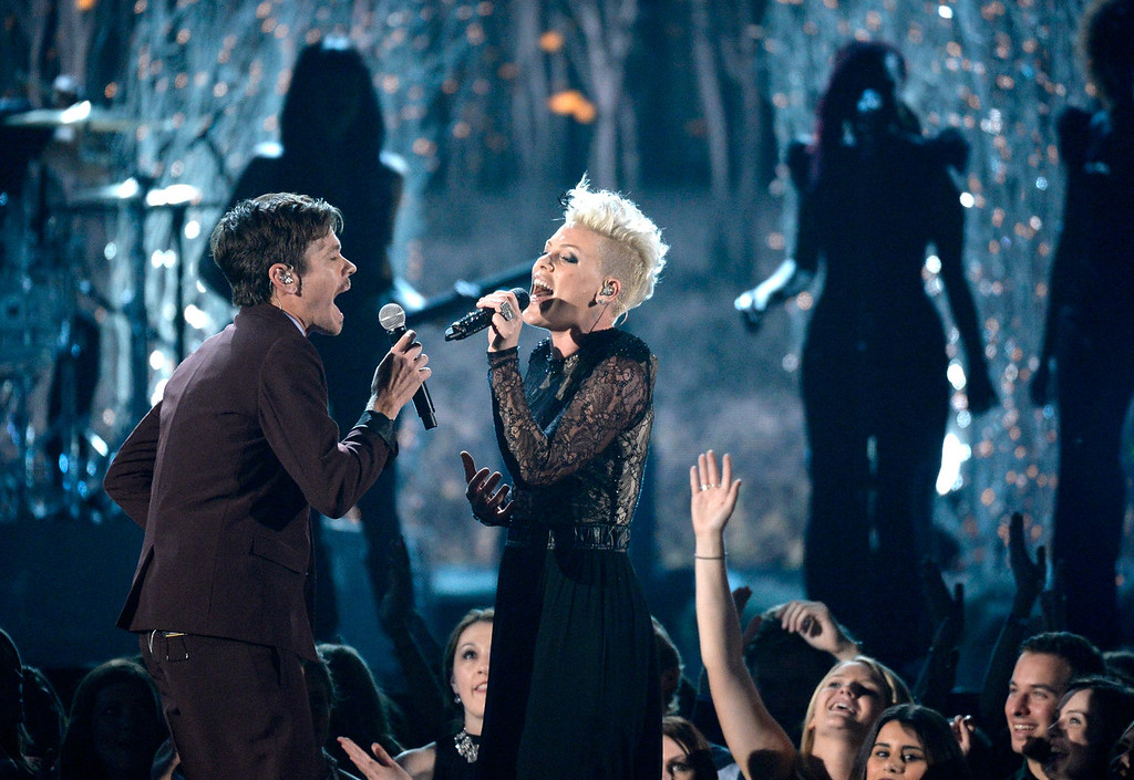 . Singers Nate Ruess (L) and Pink perform onstage during the 56th GRAMMY Awards at Staples Center on January 26, 2014 in Los Angeles, California.  (Photo by Kevork Djansezian/Getty Images)