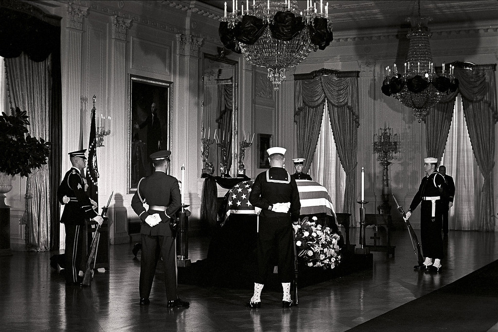 . Kennedy\'s casket lies in state at the White House on Nov. 23, 1963. Robert Knudsen, John F. Kennedy Presidential Library and Museum