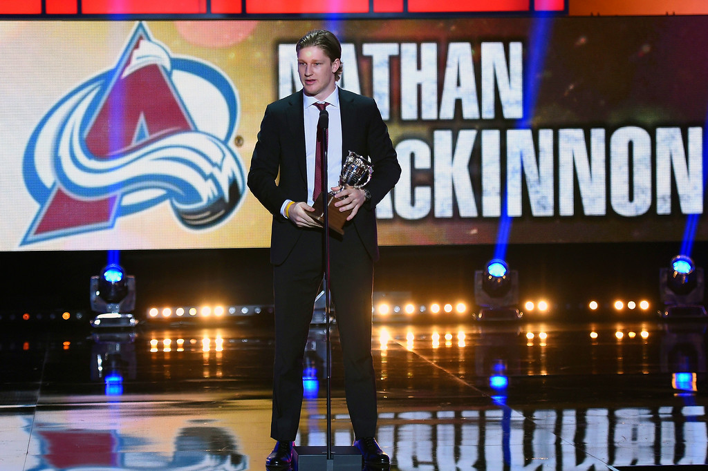 . Nathan MacKinnon of the Colorado Avalanche speaks to the crowd after winning the Calder Memorial Trophy during the 2014 NHL Awards at the Encore Theater at Wynn Las Vegas on June 24, 2014 in Las Vegas, Nevada.  (Photo by Ethan Miller/Getty Images)
