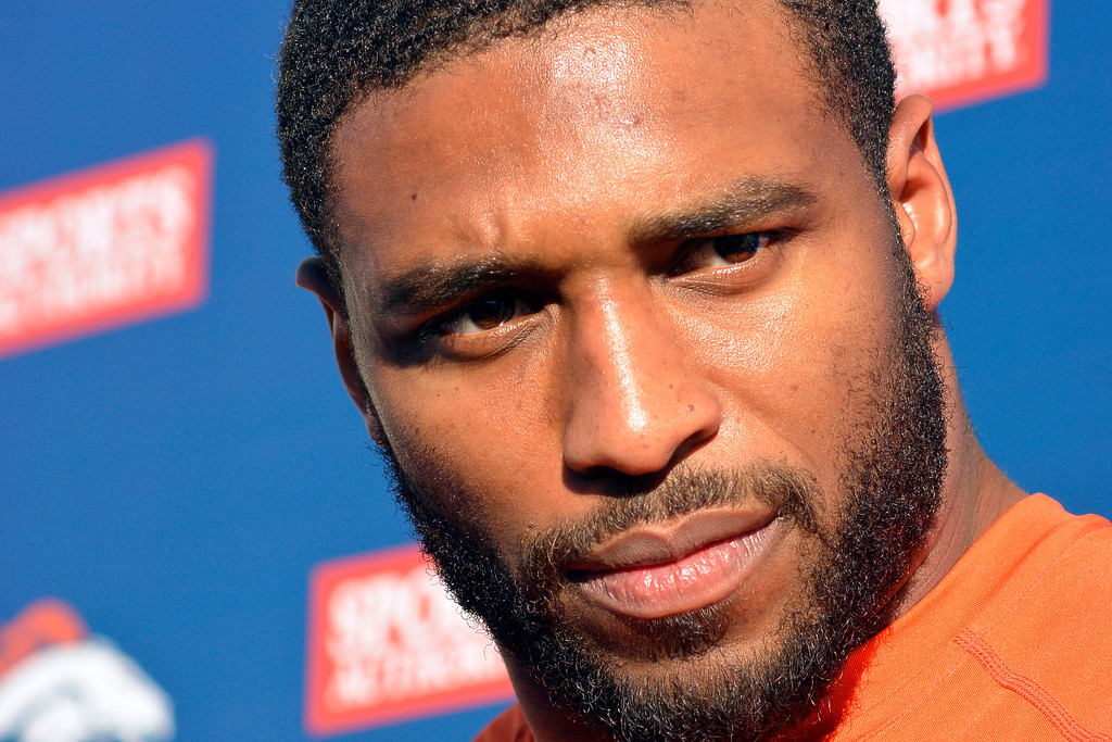 . Denver Broncos Linebacker Wesley Woodyard was named by the club as its 2013 Walter Payton NFL Man of the Year Award recipient November 27, 2013 at Dove Valley. The prestigious award historically recognizes a player for outstanding leadership both on the field and in the community. (Photo by John Leyba/The Denver Post)