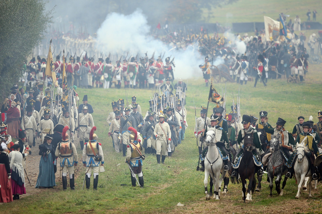 . Historical society enthusiasts in the role of Allied soldiers fighting Napoleon advance on the enemy during the re-enactment of The Battle of Nations on its 200th anniversary on October 20, 2013 near Leipzig, Germany.   (Photo by Sean Gallup/Getty Images)