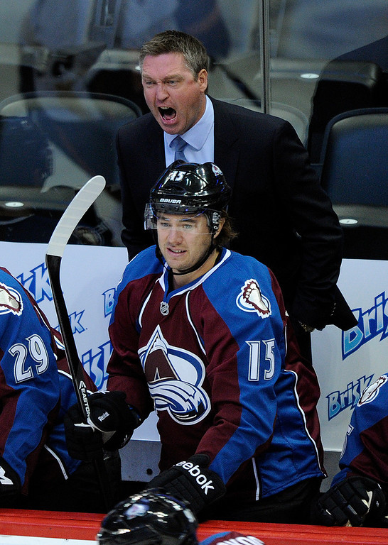 . DENVER, CO. - OCTOBER 02: Colorado head coach Patrick Roy screamed at his players in the first period. The Colorado Avalanche hosted the Anaheim Ducks at the Pepsi Center Wednesday night, October 2, 2013. Photo By Karl Gehring/The Denver Post