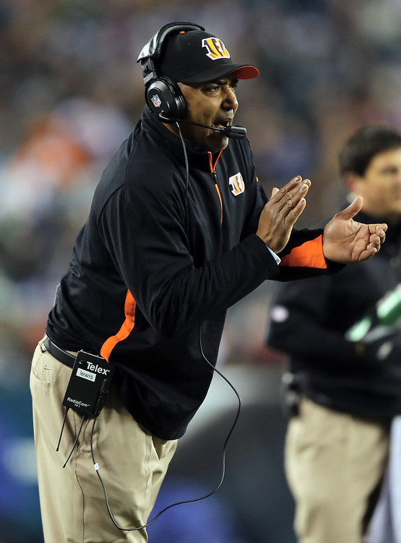 . Head coach Marvin Lewis of the Cincinnati Bengals directs his players in the second quarter against the Philadelphia Eagles on December 13, 2012 at Lincoln Financial Field in Philadelphia, Pennsylvania.  (Photo by Elsa/Getty Images)