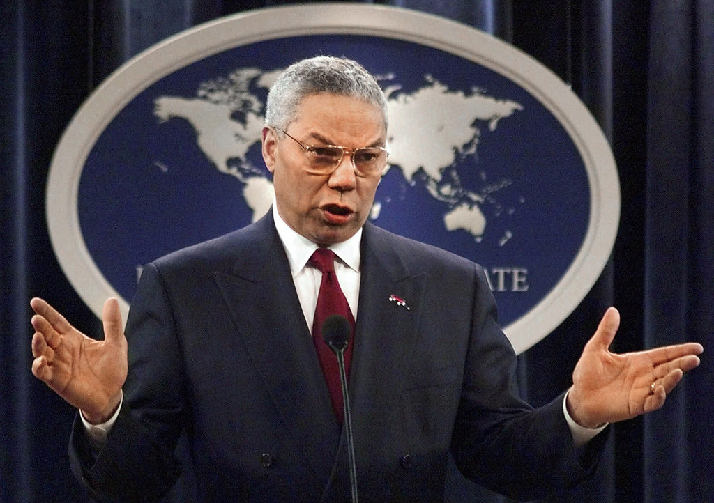 . Colin Luther Powell (born April 5, 1937) is an American statesman and a retired four-star general in the United States Army. He was the 65th United States Secretary of State, serving under President George W. Bush from 2001 to 2005, the first African American to serve in that position. He was the first, and so far the only, African American to serve on the Joint Chiefs of Staff. Secretary of State Colin Powell talks about the U.S. effort to end fighting between Israel and the Palestinians during a briefing at the Department of state in Washington in this May 21, 2001 photo.  As a member of the Bush administration\'s national security team Powell often finds himself at odds with administration hard liners at home.     (AP Photo/J. Scott Applewhite)