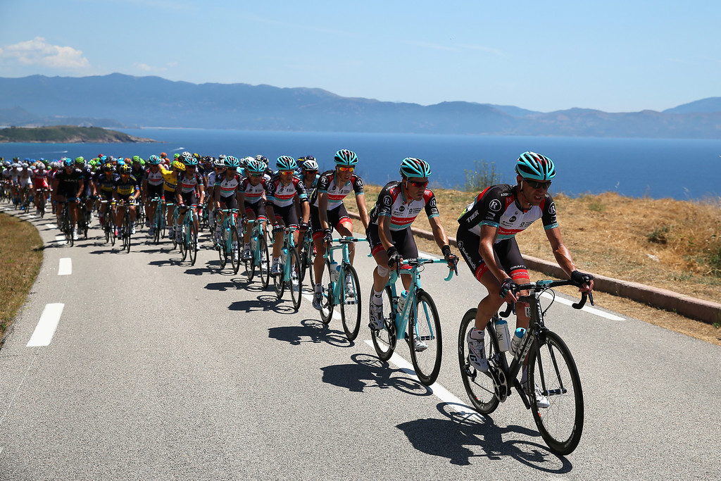 . Jens Voigt of Germany and Radioshack Leopard leads the peloton along the Corsican coast during stage three of the 2013 Tour de France, a 145.5KM road stage from Ajaccio to Calvi, on July 1, 2013 in Calvi, France.  (Photo by Bryn Lennon/Getty Images)