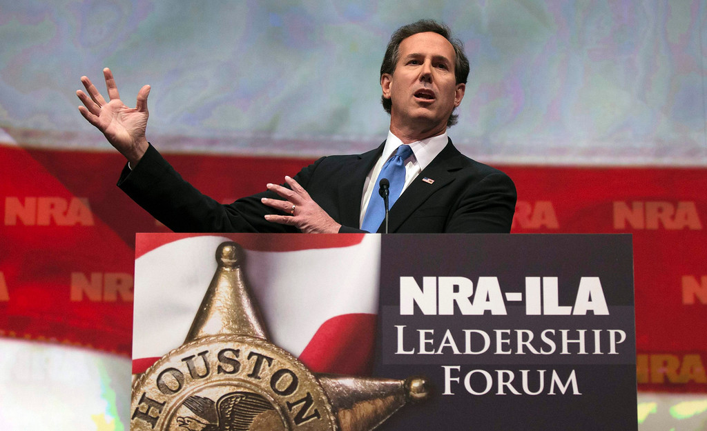 . Former U.S. Senator Rick Santorum speaks at the National Rifle Association-Institute for Legislative Action (NRA-ILA) Leadership Forum at the George R. Brown Convention Center, the site for the NRA\'s annual meeting in Houston, Texas May 3, 2013. President Barack Obama and national media are demonizing law-abiding gun owners in the wake of recent violent acts, NRA leaders and political allies said on Friday at its first convention since the Connecticut school massacre. Organizers expect some 70,000 attendees at the 142nd NRA Annual Meetings & Exhibits in Houston, which began on Friday and continues through Sunday.  REUTERS/Adrees Latif
