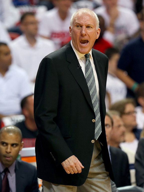 . Head coach Gregg Popovich of the San Antonio Spurs calls out in the first quarter against the Miami Heat during Game One of the 2013 NBA Finals at AmericanAirlines Arena on June 6, 2013 in Miami, Florida. (Photo by Mike Ehrmann/Getty Images)