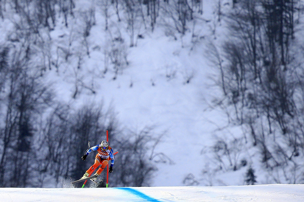 . Norway\'s Aksel Lund Svindal competes during the Men\'s Alpine Skiing Super-G at the Rosa Khutor Alpine Center during the Sochi Winter Olympics on February 16, 2014.  ALEXANDER KLEIN/AFP/Getty Images